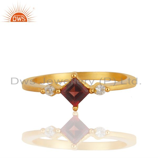 22K Yellow Gold Plated Brass Garnet Gemstone And Cubic Zirconia Fashion Ring