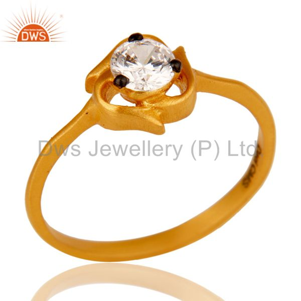 22K Yellow Gold Plated Brass Cubic Zirconia Prong Set Fashion Ring