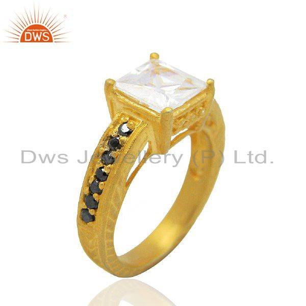 22K Yellow Gold Plated Brass Cubic Zirconia Prong Set Womens Fashion Ring
