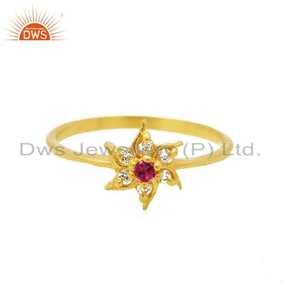 18K Yellow Gold Plated Brass Cubic Zirconia Flower Fashion Cocktail Ring