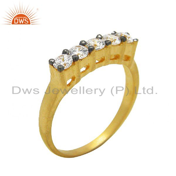 18K Yellow Gold Plated Sterling Silver Cubic Zirconia Bridal Fashion Ring