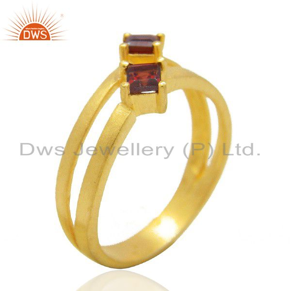 22K Matte Yellow Gold Plated Brass Natural Garnet Prong Set Split Shank Ring