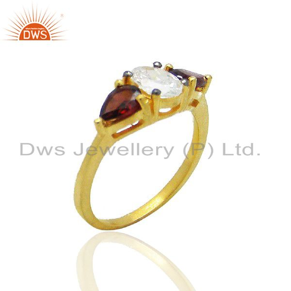 18K Yellow Gold Plated Sterling Silver Garnet And Cubic Zirconia Fashion Ring