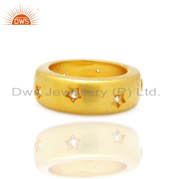 22K Yellow Gold Plated Brass Cubic Zirconia Engagement Band Ring