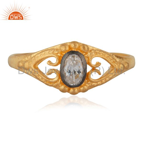 18K Gold Plated Fashion Jewelry Handmade White Zircon Engagement Unique Ring