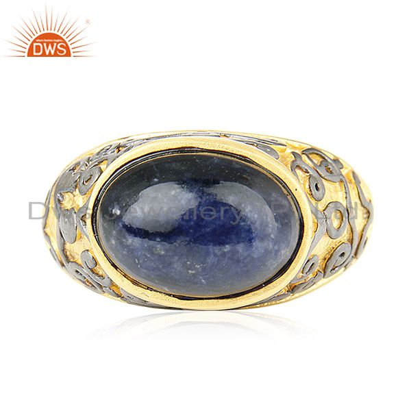 18K Yellow Gold Plated Brass Sodalite Gemstone Cocktail Ring