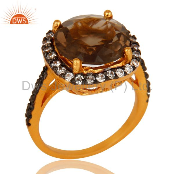 22K Yellow Gold Plated Brass Smoky Quartz And Cubic Zirconia Ladies Fashion Ring
