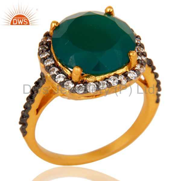 22K Yellow Gold Plated Brass Green Onyx And Cubic Zirconia Ladies Fashion Ring
