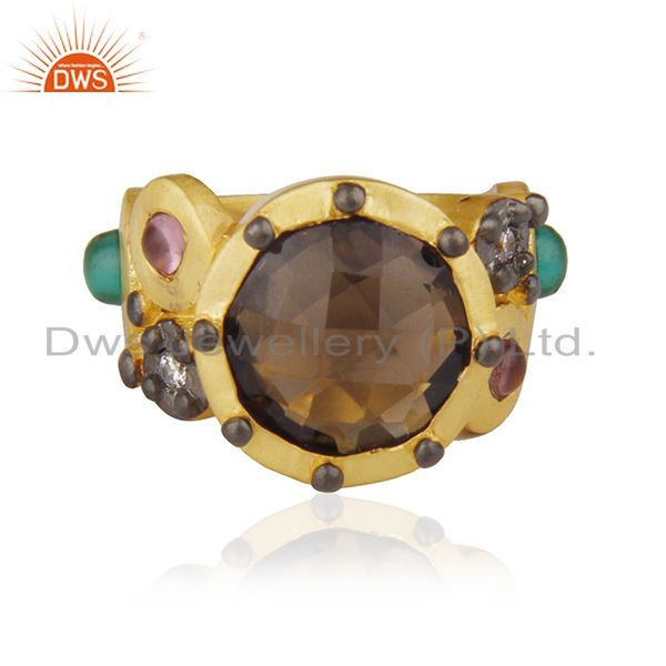 22K Matte Yellow Gold Plated Brass Smoky Quartz Designer Fashion Ring With CZ