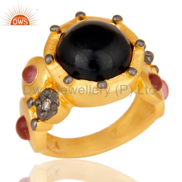 22K Matte Yellow Gold Plated Brass Black Onyx Designer Fashion Ring With CZ