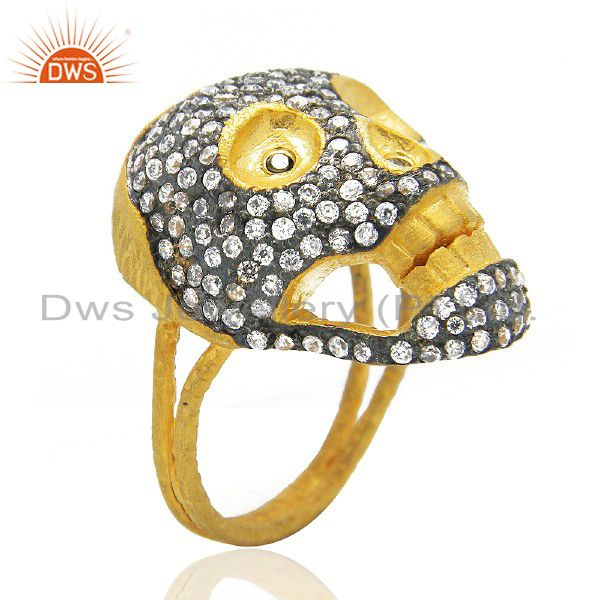 18K Yellow Gold Plated Brass Cubic Zirconia Vintage Look Skull Cocktail Ring