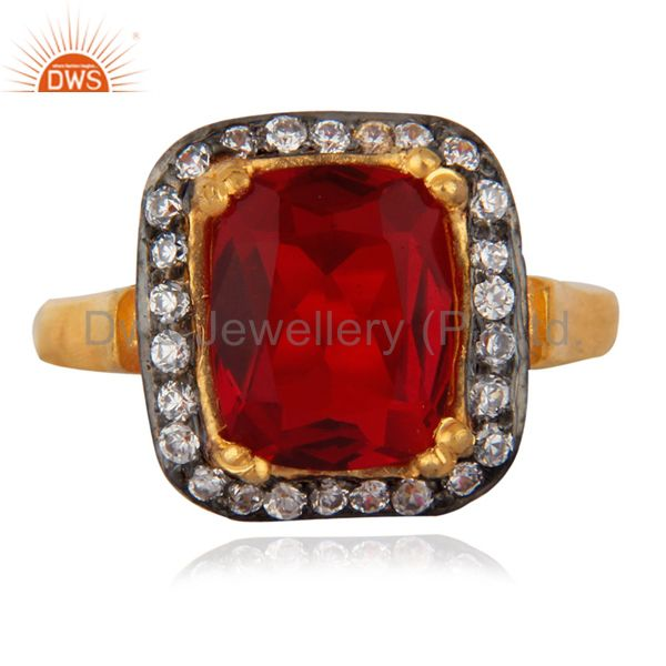 Attractive Red & White Zircon CZ 18k Yellow Gold GP Girls Child Kid Rings SZ 3.5