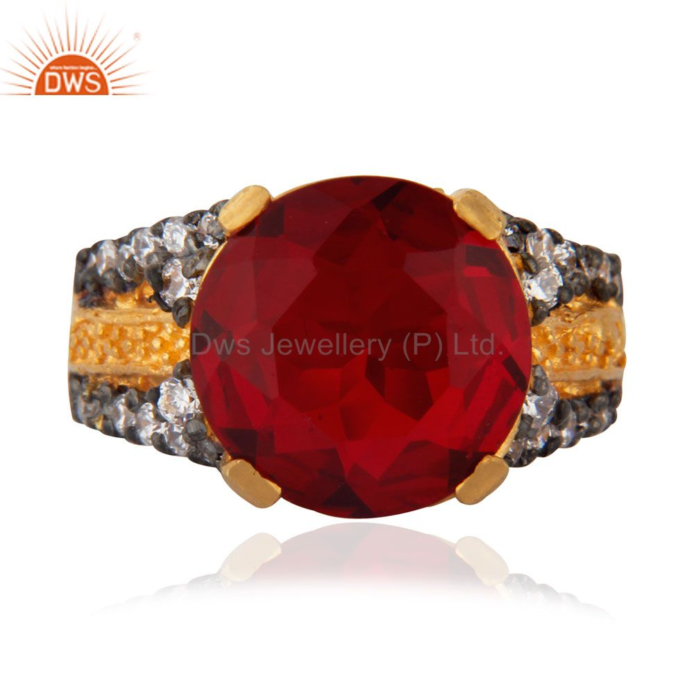 18K Yellow Gold Plated Red Glass & White Cubic Zirconia Fashion Ring For Women
