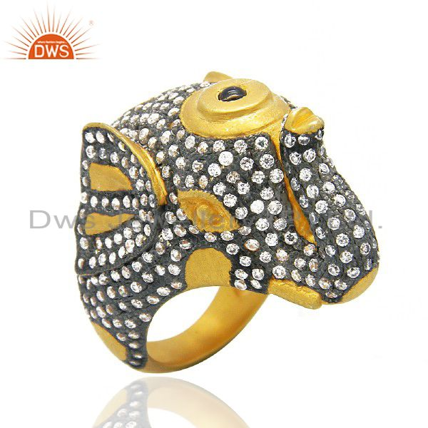 18K Yellow Gold Plated Brass Cubic Zirconia Vintage Look Elephant Cocktail Ring