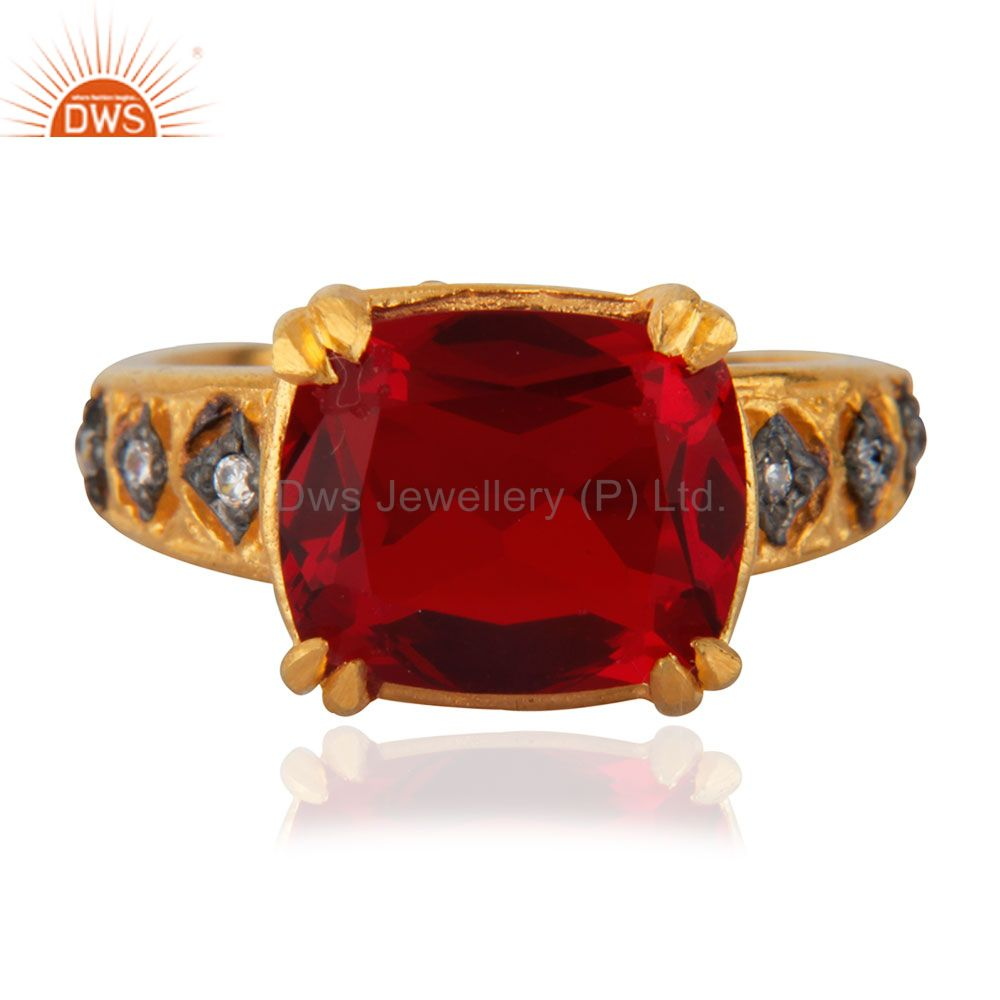 Dark Garnet Red Glass Cubic Zirconia 18K Yellow Gold Plated Ring Gift For Womens