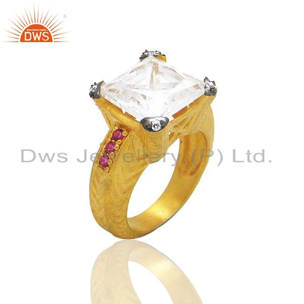 18K Yellow Gold Plated Brass Cubic Zirconia Hammered Cocktail Ring