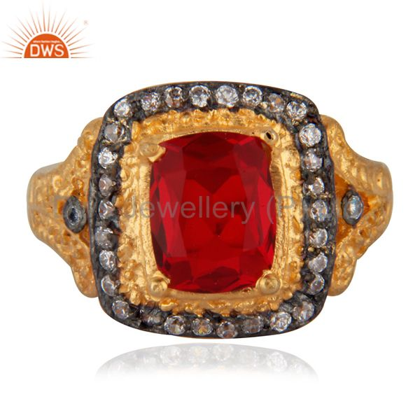 Antique 18K Yellow Gold Plated Simulated Cubic Diamond Red Glass Ruby Color Ring