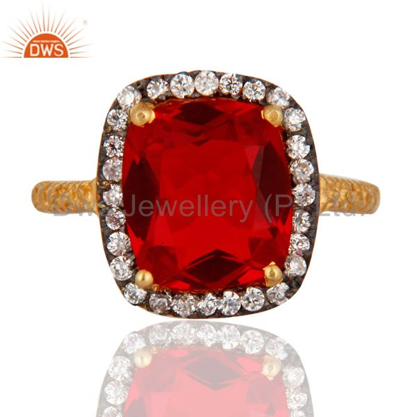 24k Yellow Gold Plated Dark Red Glass Ring Zircon White Ladies FASHION Ring