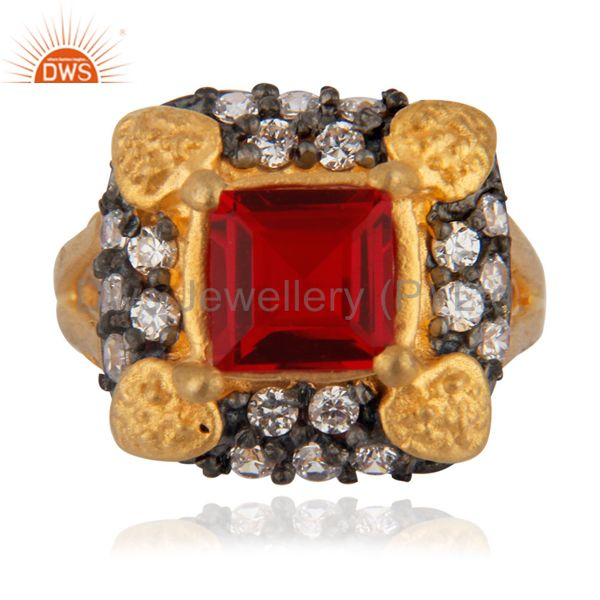 A Superb 18ct Yellow Gold Plated White Cubic Zirconia Most Trendy Fashion Ring