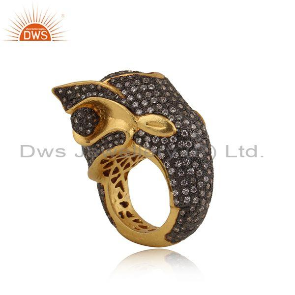 Elephant Shaped Rhodium & Gold Plated Silver Antique CZ Ring