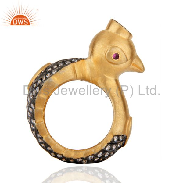 Wonderful Birds Duck Design 24K GOld Plated Black Zircon Fashion Unisex Ring Red