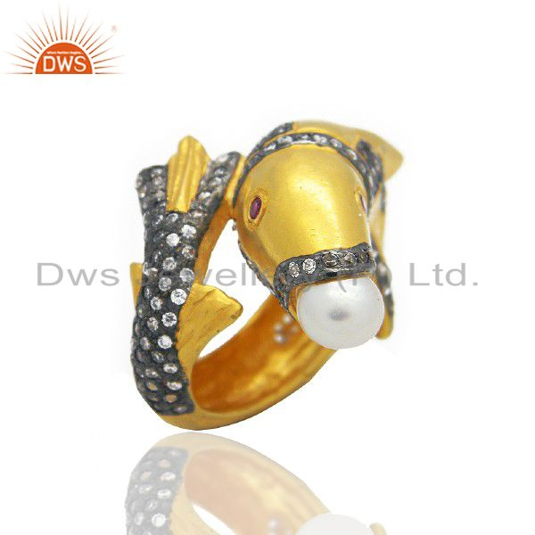18K Yellow Gold Plated Brass Cubic Zirconia And Pearl Dolphin Ring