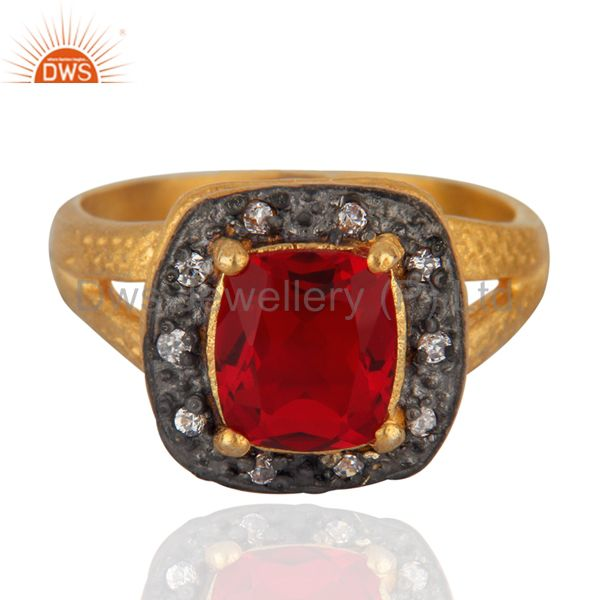 Handmade 18k Yellow Gold Over Brass Red Glass & Zirconia Solitaire Ring Jewelry