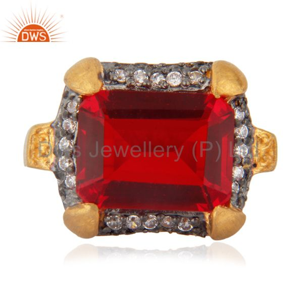 Cheap Fashion Garnet Color Red Glass Cocktail Yellow Gold Plated Zircon Ring sz
