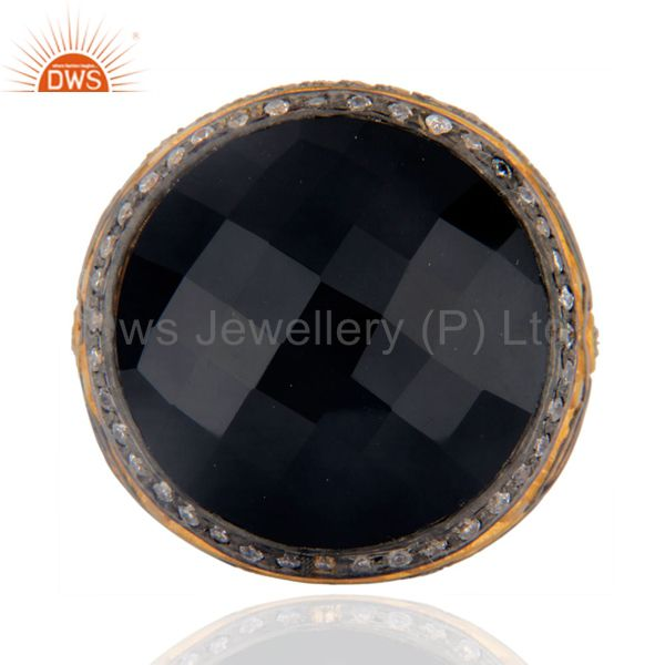 Vintage Designer Faceted Round Black Onyx Gold Plated Ring