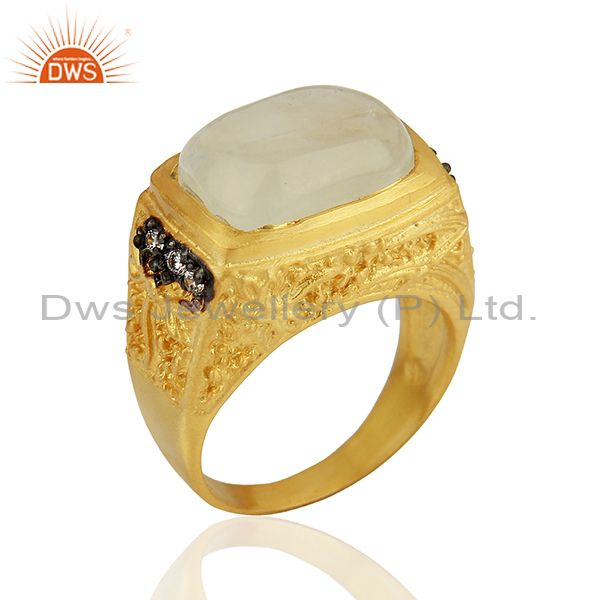14K Yellow Gold Plated Brass Rainbow Moonstone Designer Ring With CZ