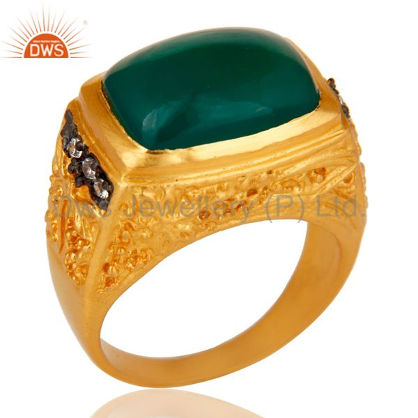 14K Yellow Gold Plated Brass Designer Ring With Green Onyx And White Zircon
