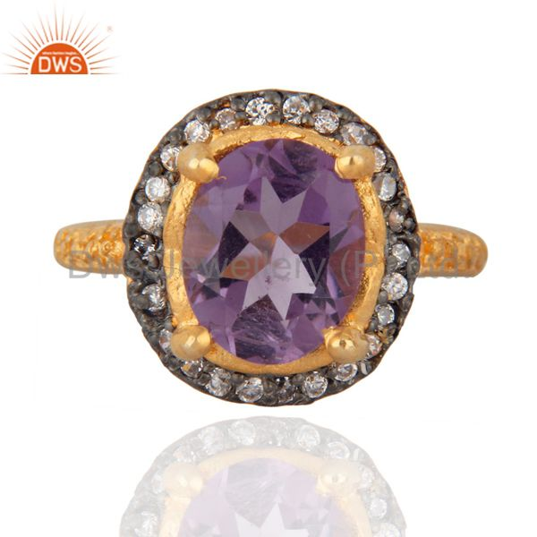 Natural Amethyst Prong Setting Gemstone White Zircon 18K Yellow Gold Plated Ring