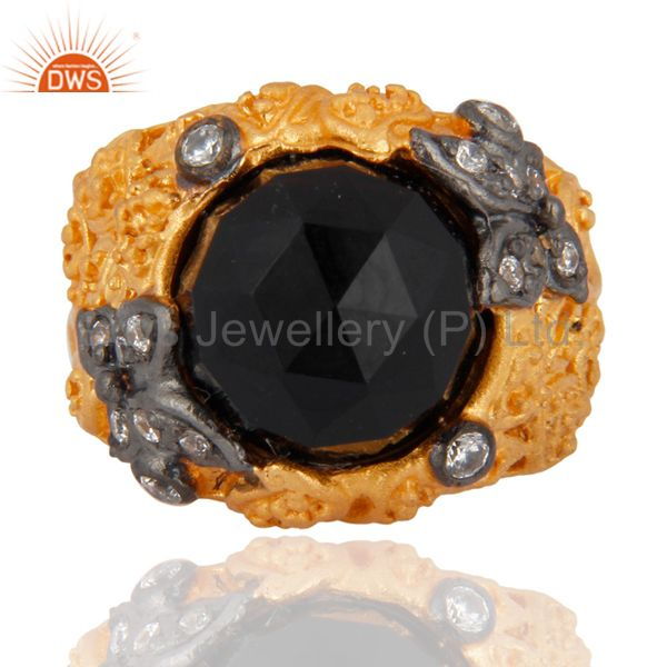 18K Yellow Gold Plated Black Onyx And Cubic Zirconia Cocktail Ring