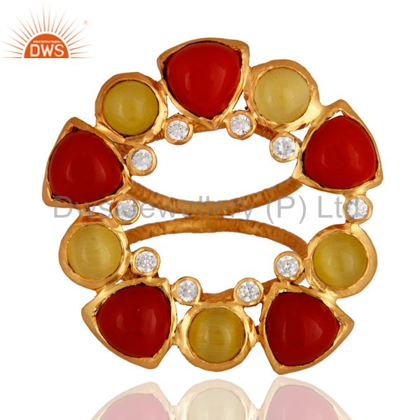Handmade Yellow Moonstone And Red Coral Cocktail Gold Plated Ring With CZ