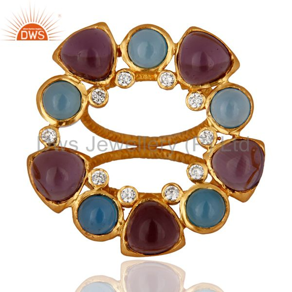 Handmade Chalcedony Designer Gemstone Ring With 18k Yellow Gold Plated Jewelry
