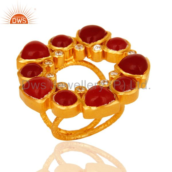 Natural Red Aventurine 22K Yellow Gold Plated Split Shank Ring With CZ