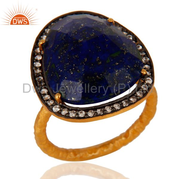 Natural Lapis Lazuli Gemstone Ring With CZ Made In 18K Gold Plated Over Brass
