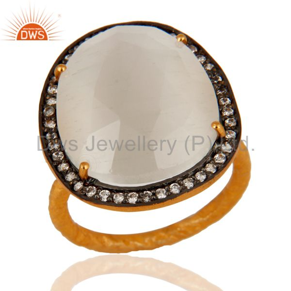 Designer White Moonstone Ring With CZ in 18kt Gold Over brass jewellery