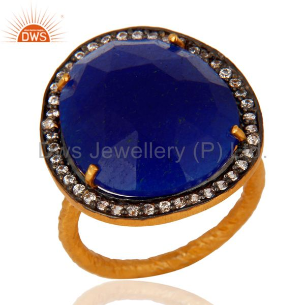 14K Yellow Gold Plated over Brass Blue Aventurine Gemstone Ring With CZ Gemstone