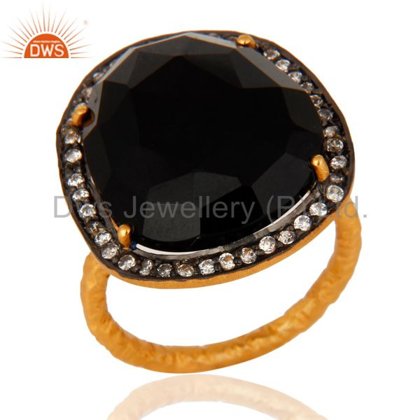 18-Karat Yellow Gold Plated Black Onyx Gemstone Prong Set Designer Ring With CZ