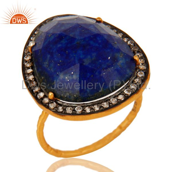 14K Yellow Gold Plated Sterling Silver Lapis Lazuli Gemstone Cocktail Ring