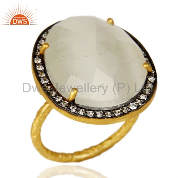 14K Gold Plated 925 Sterling Silver White Moonstone White Zircon Statemet Ring