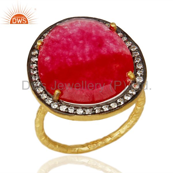 14K Gold Plated 925 Sterling Silver Red Aventurine White Zircon Statement Ring