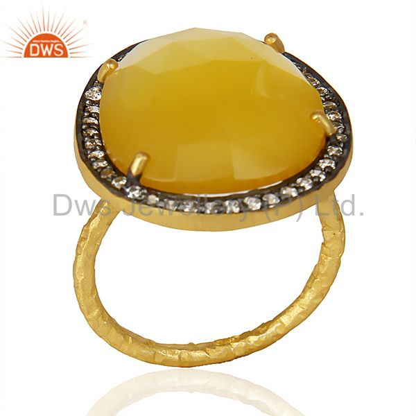 14K Gold Plated Sterling Silver Yellow Chalcedony White Zircon Statement Ring