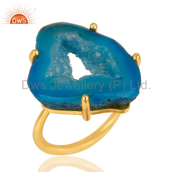 Natural Druzy Slice Prong Set Gemstone 24K Yellow Gold Plated Ring