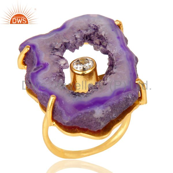 Prong Set Pink Druzy Raw Geode Slice Gold Plated Brass Handmade Ring