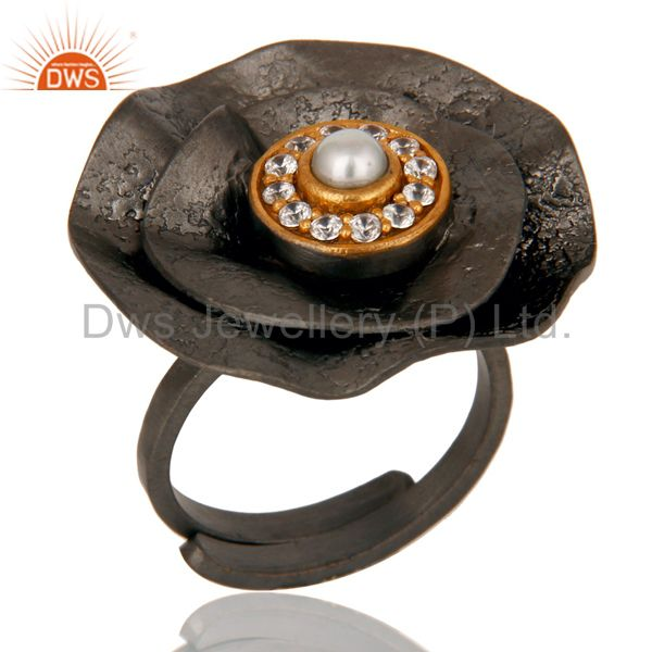 Pearl and White Zircon Black Oxidized Textured Folied Adjustable Ring