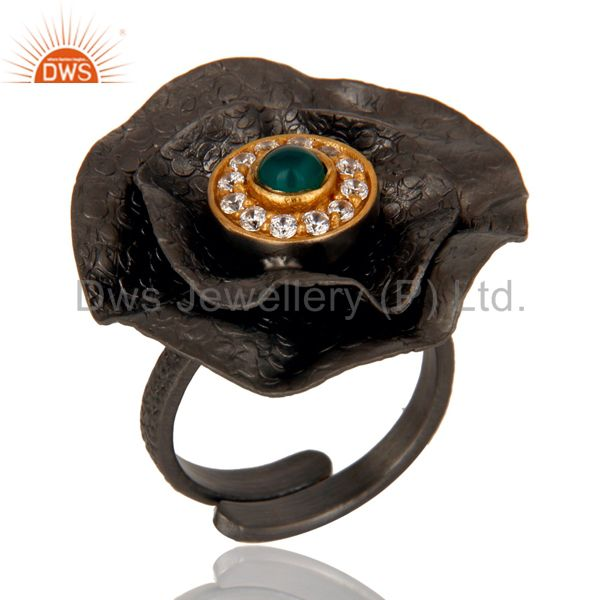 Black Oxidized Green Onyx and White Zircon Textured Folied Adjustable Ring