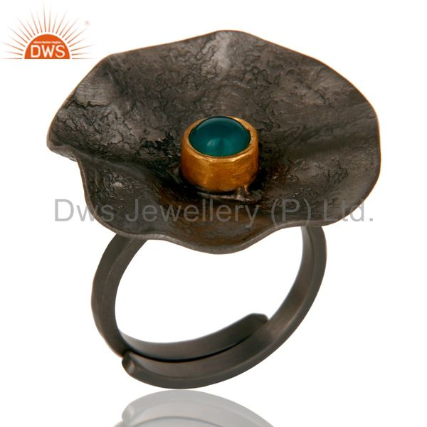 Black Oxidized Handmade Textured Adjustable Ring with Green Onyx