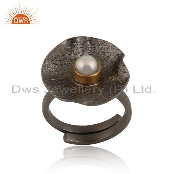 Pearl cabushion set sterling silver rhodium plated ring